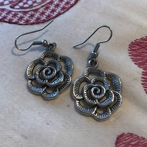 Carved flower earrings